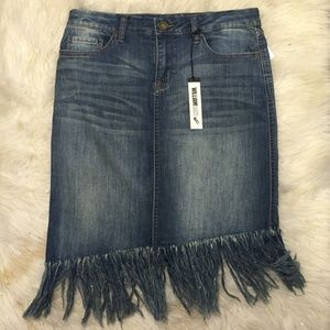 William Wrast Denim Fringe Skirt NWT Size 29